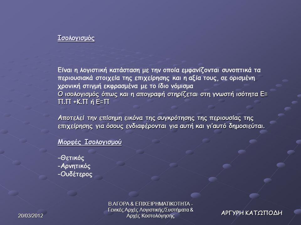 20/03/2012 Β.ΑΓΟΡΑ & ΕΠΙΧΕΙΡΗΜΑΤΙΚΟΤΗΤΑ - Γενικές Αρχές Λογιστικής/Συστήματα & Αρχές Κοστολόγησης Ισολογισμός Ο ισολογισμός όπως και η απογραφή στηρίζεται στη γνωστή ισότητα Ε= Π.Π +Κ.Π ή Ε=Π Αποτελεί την επίσημη εικόνα της συγκρότησης της περιουσίας της επιχείρησης για όσους ενδιαφέρονται για αυτή και γι'αυτό δημοσιεύται.