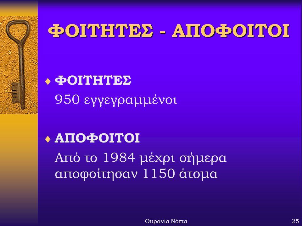 Ουρανία Νόττα25 ΦΟΙΤΗΤΕΣ - ΑΠΟΦΟΙΤΟΙ  ΦΟΙΤΗΤΕΣ 950 εγγεγραμμένοι  ΑΠΟΦΟΙΤΟΙ Από το 1984 μέχρι σήμερα αποφοίτησαν 1150 άτομα