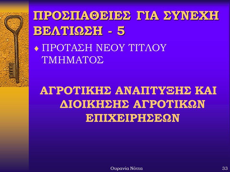 Ουρανία Νόττα33 ΠΡΟΣΠΑΘΕΙΕΣ ΓΙΑ ΣΥΝΕΧΗ ΒΕΛΤΙΩΣΗ - 5  ΠΡΟΤΑΣΗ ΝΕΟΥ ΤΙΤΛΟΥ ΤΜΗΜΑΤΟΣ ΑΓΡΟΤΙΚΗΣ ΑΝΑΠΤΥΞΗΣ ΚΑΙ ΔΙΟΙΚΗΣΗΣ ΑΓΡΟΤΙΚΩΝ ΕΠΙΧΕΙΡΗΣΕΩΝ