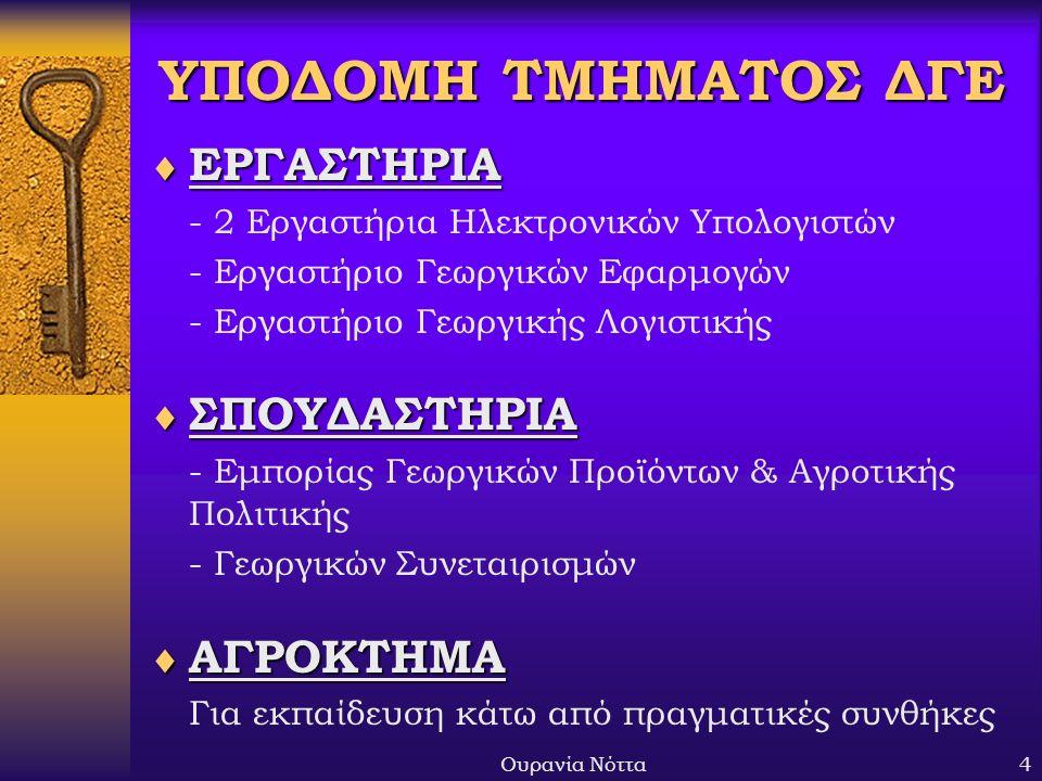 Ουρανία Νόττα4 ΥΠΟΔΟΜΗ ΤΜΗΜΑΤΟΣ ΔΓΕ  ΕΡΓΑΣΤΗΡΙΑ - 2 Εργαστήρια Ηλεκτρονικών Υπολογιστών - Εργαστήριο Γεωργικών Εφαρμογών - Εργαστήριο Γεωργικής Λογιστικής  ΣΠΟΥΔΑΣΤΗΡΙΑ - Εμπορίας Γεωργικών Προϊόντων & Αγροτικής Πολιτικής - Γεωργικών Συνεταιρισμών  ΑΓΡΟΚΤΗΜΑ Για εκπαίδευση κάτω από πραγματικές συνθήκες