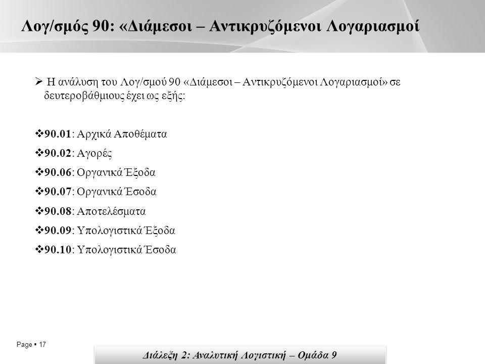 Page  17 Λογ/σμός 90: «Διάμεσοι – Αντικρυζόμενοι Λογαριασμοί  Η ανάλυση του Λογ/σμού 90 «Διάμεσοι – Αντικρυζόμενοι Λογαριασμοί» σε δευτεροβάθμιους έχει ως εξής:  90.01: Αρχικά Αποθέματα  90.02: Αγορές  90.06: Οργανικά Έξοδα  90.07: Οργανικά Έσοδα  90.08: Αποτελέσματα  90.09: Υπολογιστικά Έξοδα  90.10: Υπολογιστικά Έσοδα Διάλεξη 2: Αναλυτική Λογιστική – Ομάδα 9