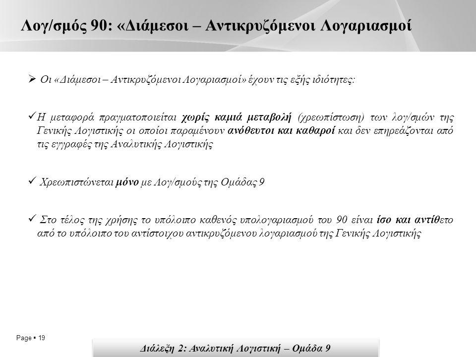 Page  19 Λογ/σμός 90: «Διάμεσοι – Αντικρυζόμενοι Λογαριασμοί  Οι «Διάμεσοι – Αντικρυζόμενοι Λογαριασμοί» έχουν τις εξής ιδιότητες: Η μεταφορά πραγματοποιείται χωρίς καμιά μεταβολή (χρεωπίστωση) των λογ/σμών της Γενικής Λογιστικής οι οποίοι παραμένουν ανόθευτοι και καθαροί και δεν επηρεάζονται από τις εγγραφές της Αναλυτικής Λογιστικής Χρεωπιστώνεται μόνο με Λογ/σμούς της Ομάδας 9 Στο τέλος της χρήσης το υπόλοιπο καθενός υπολογαριασμού του 90 είναι ίσο και αντίθετο από το υπόλοιπο του αντίστοιχου αντικρυζόμενου λογαριασμού της Γενικής Λογιστικής Διάλεξη 2: Αναλυτική Λογιστική – Ομάδα 9