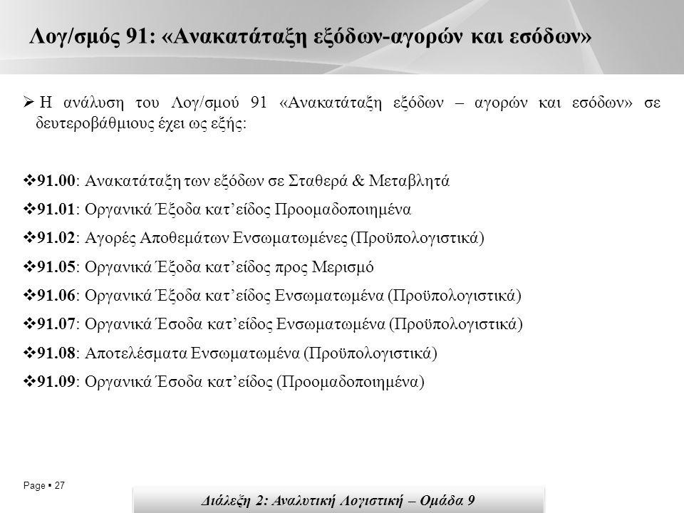 Page  27 Λογ/σμός 91: «Ανακατάταξη εξόδων-αγορών και εσόδων»  Η ανάλυση του Λογ/σμού 91 «Ανακατάταξη εξόδων – αγορών και εσόδων» σε δευτεροβάθμιους έχει ως εξής:  91.00: Ανακατάταξη των εξόδων σε Σταθερά & Μεταβλητά  91.01: Οργανικά Έξοδα κατ'είδος Προομαδοποιημένα  91.02: Αγορές Αποθεμάτων Ενσωματωμένες (Προϋπολογιστικά)  91.05: Οργανικά Έξοδα κατ'είδος προς Μερισμό  91.06: Οργανικά Έξοδα κατ'είδος Ενσωματωμένα (Προϋπολογιστικά)  91.07: Οργανικά Έσοδα κατ'είδος Ενσωματωμένα (Προϋπολογιστικά)  91.08: Αποτελέσματα Ενσωματωμένα (Προϋπολογιστικά)  91.09: Οργανικά Έσοδα κατ'είδος (Προομαδοποιημένα) Διάλεξη 2: Αναλυτική Λογιστική – Ομάδα 9