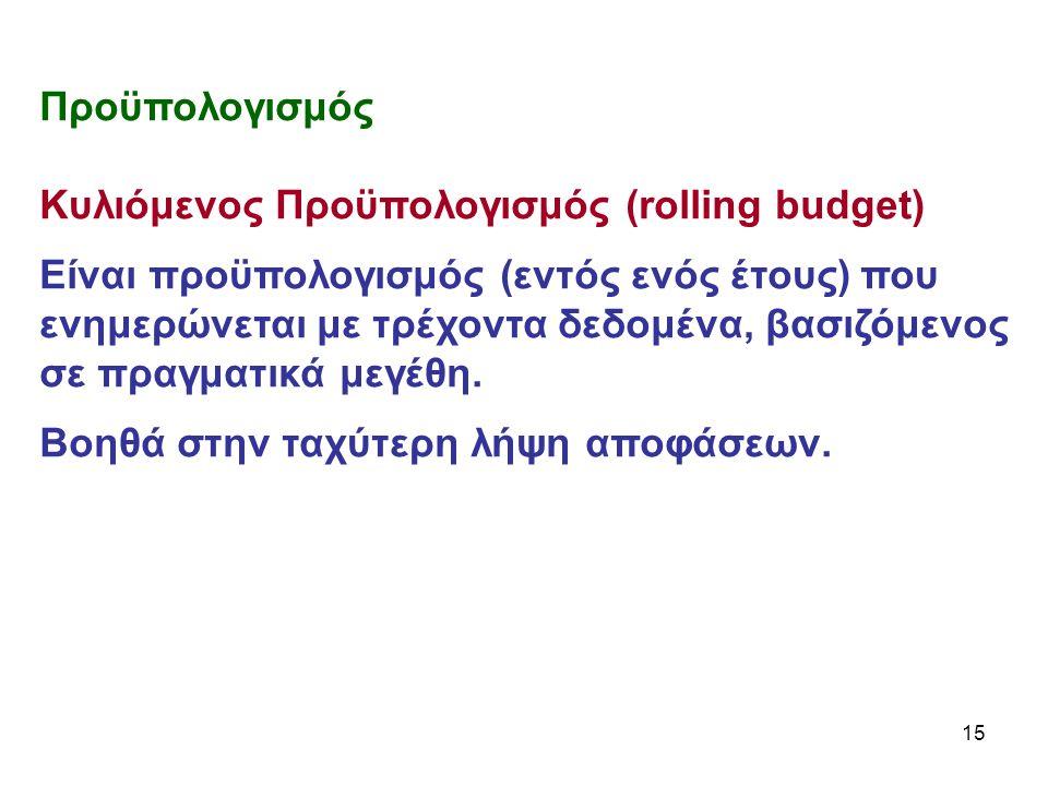 15 Προϋπολογισμός Κυλιόμενος Προϋπολογισμός (rolling budget) Είναι προϋπολογισμός (εντός ενός έτους) που ενημερώνεται με τρέχοντα δεδομένα, βασιζόμενος σε πραγματικά μεγέθη.