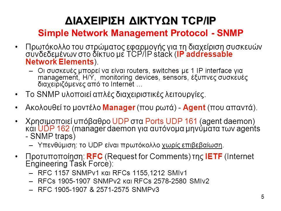 5 ΔΙΑΧΕΙΡΙΣΗ ΔΙΚΤΥΩΝ TCP/IP ΔΙΑΧΕΙΡΙΣΗ ΔΙΚΤΥΩΝ TCP/IP Simple Network Management Protocol - SNMP Πρωτόκολλο του στρώματος εφαρμογής για τη διαχείριση συσκευών συνδεδεμένων στο δίκτυο με TCP/IP stack (IP addressable Network Elements).