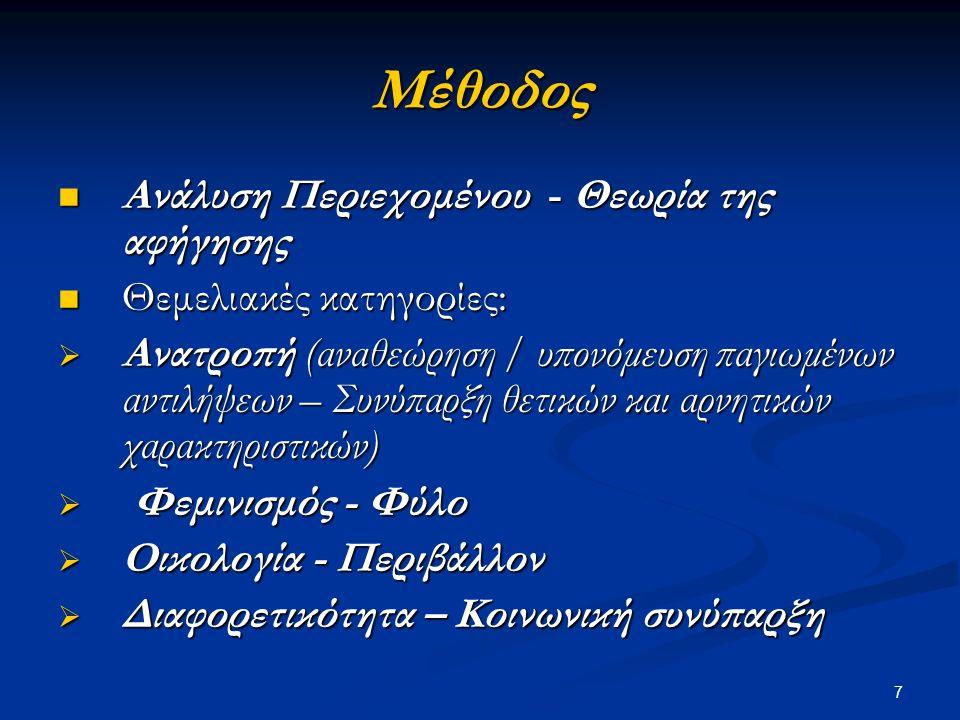 7 Μέθοδος Ανάλυση Περιεχομένου - Θεωρία της αφήγησης Ανάλυση Περιεχομένου - Θεωρία της αφήγησης Θεμελιακές κατηγορίες: Θεμελιακές κατηγορίες:  Ανατροπή (αναθεώρηση / υπονόμευση παγιωμένων αντιλήψεων – Συνύπαρξη θετικών και αρνητικών χαρακτηριστικών)  Φεμινισμός - Φύλο  Οικολογία - Περιβάλλον  Διαφορετικότητα – Κοινωνική συνύπαρξη
