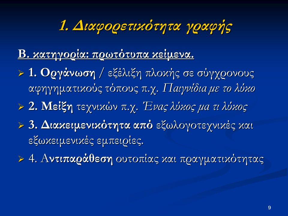 9 1. Διαφορετικότητα γραφής 1. Διαφορετικότητα γραφής Β.