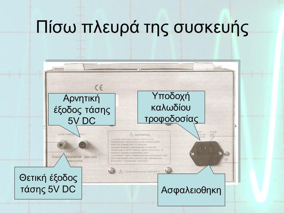 Πίσω πλευρά της συσκευής Θετική έξοδος τάσης 5V DC Αρνητική έξοδος τάσης 5V DC Υποδοχή καλωδίου τροφοδοσίας Ασφαλειοθηκη
