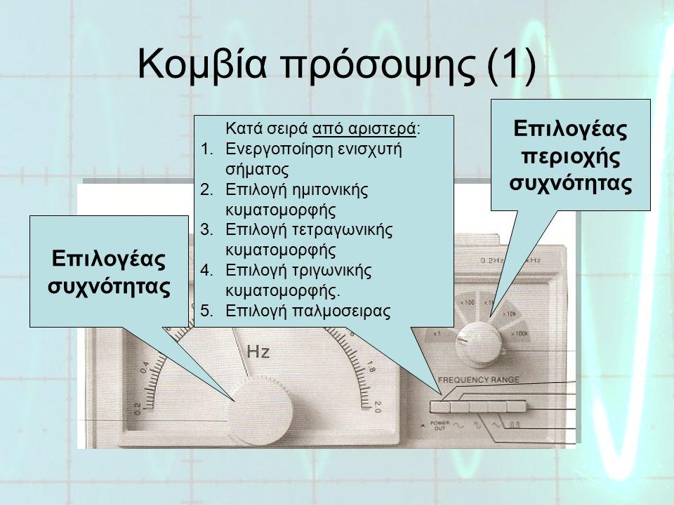 Κομβία πρόσοψης (2) Ενδεικτική λυχνία λειτουργίας Γενικός διακόπτης ON/OFF Είσοδος σήματος διαμόρφωσης συχνότητας Είσοδος σήματος διαμόρφωσης πλάτους Ρύθμιση στάθμης σήματος εξόδου (ΠΛΑΤΟΣ) Μετατόπιση στάθμης σήματος (DC OFFSET) Έξοδος σήματος γεννήτριας (50 Ω) Έξοδος σήματος TTL Θετική έξοδος ενισχυμ.