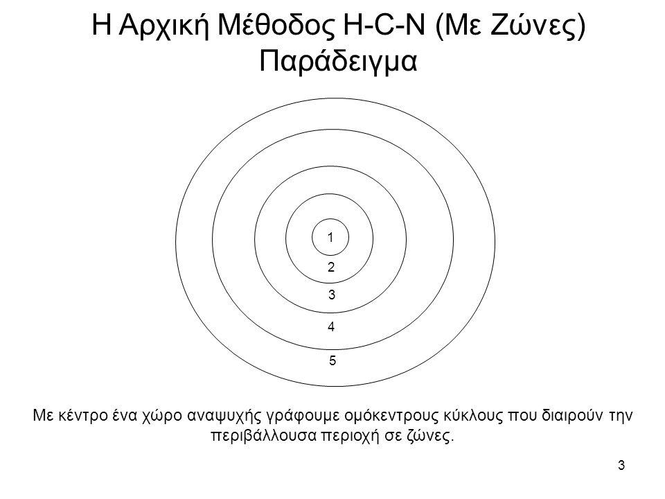 3 Η Αρχική Μέθοδος H-C-N (Με Ζώνες) Παράδειγμα 1 2 3 4 5 Με κέντρο ένα χώρο αναψυχής γράφουμε ομόκεντρους κύκλους που διαιρούν την περιβάλλουσα περιοχή σε ζώνες.