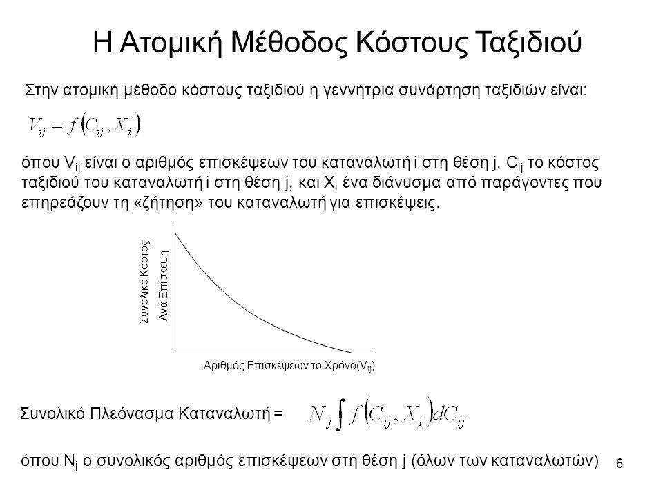 6 Η Ατομική Μέθοδος Κόστους Ταξιδιού Στην ατομική μέθοδο κόστους ταξιδιού η γεννήτρια συνάρτηση ταξιδιών είναι: όπου V ij είναι ο αριθμός επισκέψεων του καταναλωτή i στη θέση j, C ij το κόστος ταξιδιού του καταναλωτή i στη θέση j, και X i ένα διάνυσμα από παράγοντες που επηρεάζουν τη «ζήτηση» του καταναλωτή για επισκέψεις.