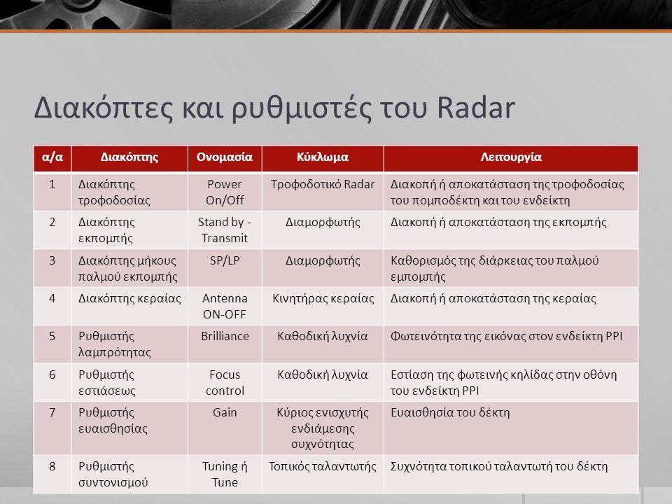 Διακόπτες και ρυθμιστές του Radar α/αΔιακόπτηςΟνομασίαΚύκλωμαΛειτουργία 1Διακόπτης τροφοδοσίας Power On/Off Τροφοδοτικό RadarΔιακοπή ή αποκατάσταση της τροφοδοσίας του πομποδέκτη και του ενδείκτη 2Διακόπτης εκπομπής Stand by - Transmit ΔιαμορφωτήςΔιακοπή ή αποκατάσταση της εκπομπής 3Διακόπτης μήκους παλμού εκπομπής SP/LPΔιαμορφωτήςΚαθορισμός της διάρκειας του παλμού εμπομπής 4Διακόπτης κεραίαςAntenna ON-OFF Κινητήρας κεραίαςΔιακοπή ή αποκατάσταση της κεραίας 5Ρυθμιστής λαμπρότητας BrillianceΚαθοδική λυχνίαΦωτεινότητα της εικόνας στον ενδείκτη PPI 6Ρυθμιστής εστιάσεως Focus control Καθοδική λυχνίαΕστίαση της φωτεινής κηλίδας στην οθόνη του ενδείκτη PPI 7Ρυθμιστής ευαισθησίας GainΚύριος ενισχυτής ενδιάμεσης συχνότητας Ευαισθησία του δέκτη 8Ρυθμιστής συντονισμού Tuning ή Tune Τοπικός ταλαντωτήςΣυχνότητα τοπικού ταλαντωτή του δέκτη