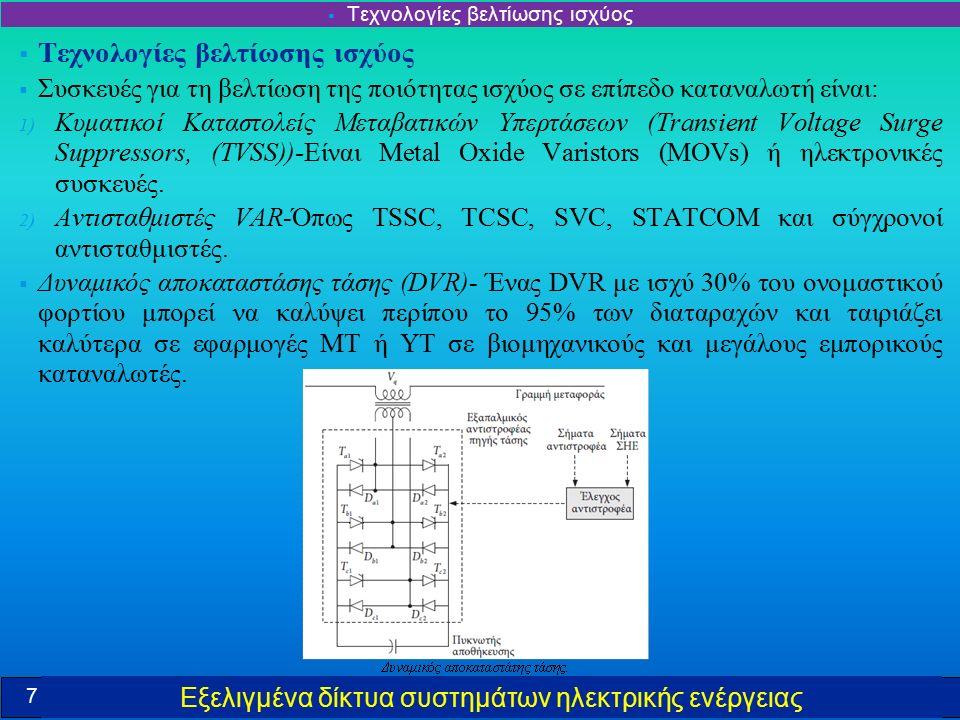 Εξελιγμένα δίκτυα συστημάτων ηλεκτρικής ενέργειας  Τεχνολογίες βελτίωσης ισχύος  Συσκευές για τη βελτίωση της ποιότητας ισχύος σε επίπεδο καταναλωτή είναι: 1) Κυματικοί Καταστολείς Μεταβατικών Υπερτάσεων (Transient Voltage Surge Suppressors, (TVSS))-Είναι Metal Oxide Varistors (MOVs) ή ηλεκτρονικές συσκευές.
