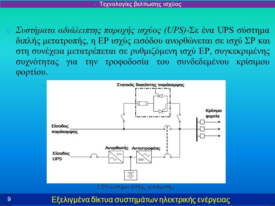 Εξελιγμένα δίκτυα συστημάτων ηλεκτρικής ενέργειας 1) Συστήματα αδιάλειπτης παροχής ισχύος (UPS)-Σε ένα UPS σύστημα διπλής μετατροπής, η ΕΡ ισχύς εισόδου ανορθώνεται σε ισχύ ΣΡ και στη συνέχεια μετατρέπεται σε ρυθμιζόμενη ισχύ ΕΡ, συγκεκριμένης συχνότητας για την τροφοδοσία του συνδεδεμένου κρίσιμου φορτίου.