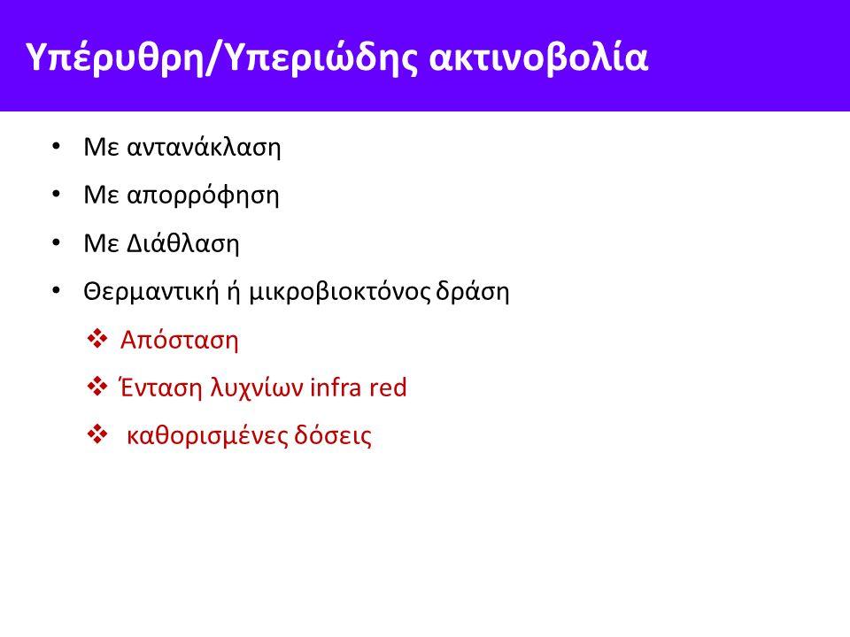 Υπέρυθρη/Υπεριώδης ακτινοβολία Με αντανάκλαση Με απορρόφηση Με Διάθλαση Θερμαντική ή μικροβιοκτόνος δράση  Απόσταση  Ένταση λυχνίων infra red  καθορισμένες δόσεις