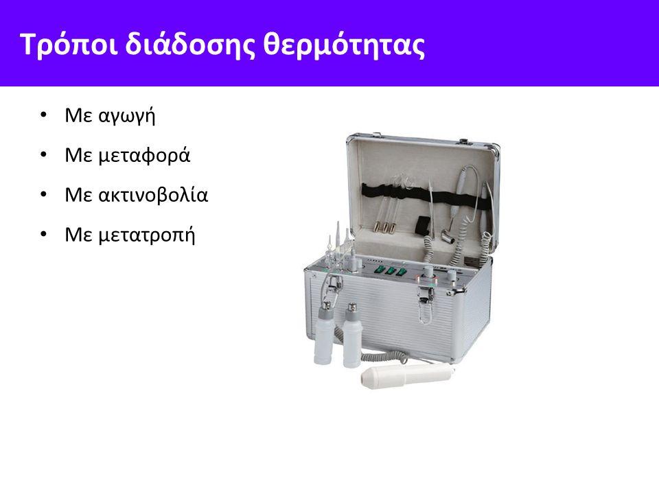 Τρόποι διάδοσης θερμότητας Με αγωγή Με μεταφορά Με ακτινοβολία Με μετατροπή