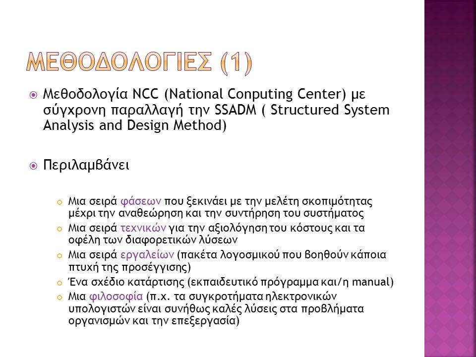  Μεθοδολογία NCC (National Conputing Center) με σύγχρονη παραλλαγή την SSADM ( Structured System Analysis and Design Method)  Περιλαμβάνει Μια σειρά φάσεων που ξεκινάει με την μελέτη σκοπιμότητας μέχρι την αναθεώρηση και την συντήρηση του συστήματος Μια σειρά τεχνικών για την αξιολόγηση του κόστους και τα οφέλη των διαφορετικών λύσεων Μια σειρά εργαλείων (πακέτα λογοσμικού που βοηθούν κάποια πτυχή της προσέγγισης) Ένα σχέδιο κατάρτισης (εκπαιδευτικό πρόγραμμα και/η manual) Μια φιλοσοφία (π.χ.