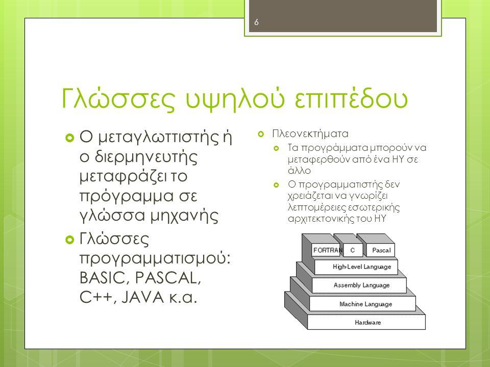 Γλώσσες υψηλού επιπέδου 6  Ο μεταγλωττιστής ή ο διερμηνευτής μεταφράζει το πρόγραμμα σε γλώσσα μηχανής  Γλώσσες προγραμματισμού: BASIC, PASCAL, C++, JAVA κ.α.