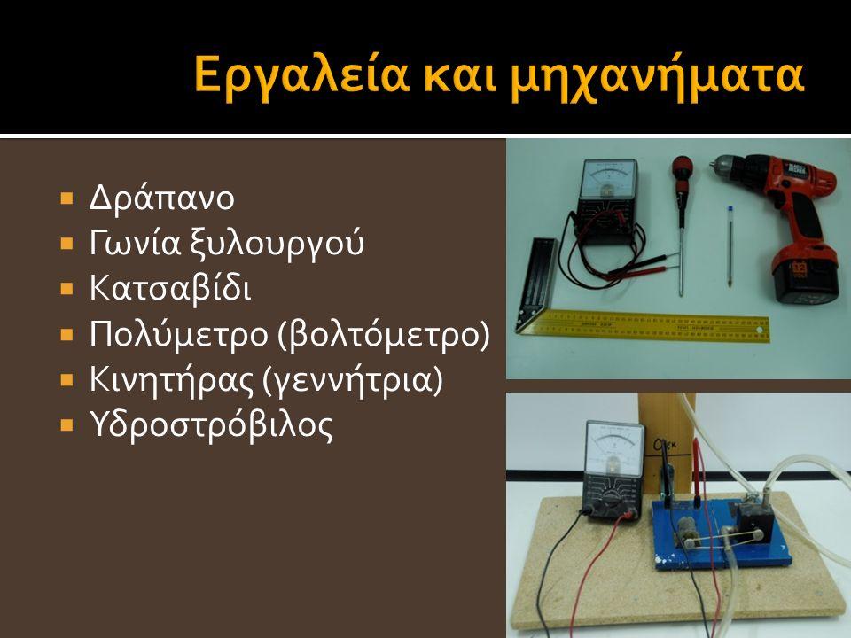  Δράπανο  Γωνία ξυλουργού  Κατσαβίδι  Πολύμετρο (βολτόμετρο)  Κινητήρας (γεννήτρια)  Υδροστρόβιλος 15