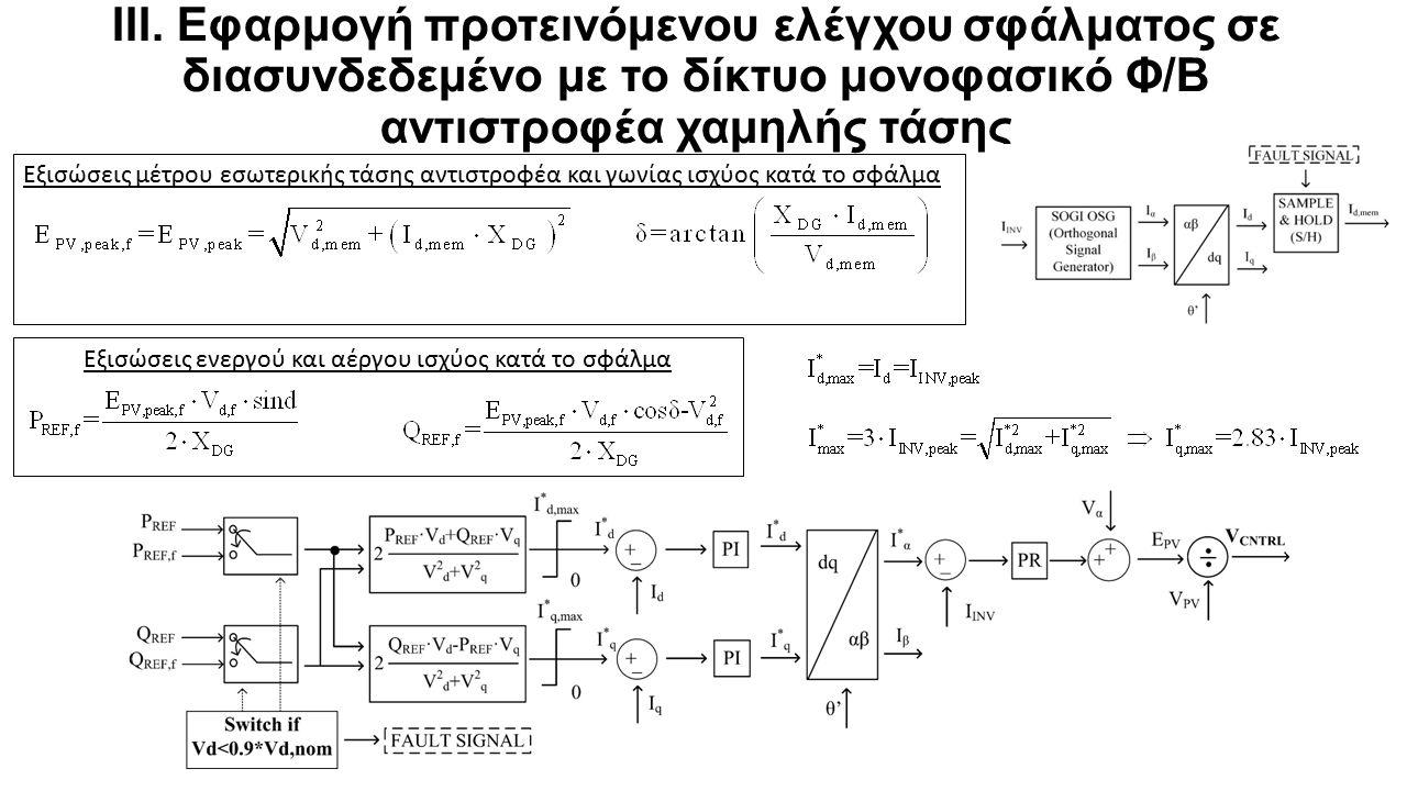 Εξισώσεις μέτρου εσωτερικής τάσης αντιστροφέα και γωνίας ισχύος κατά το σφάλμα Εξισώσεις ενεργού και αέργου ισχύος κατά το σφάλμα