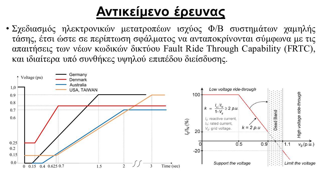 Αντικείμενο έρευνας Σχεδιασμός ηλεκτρονικών μετατροπέων ισχύος Φ/Β συστημάτων χαμηλής τάσης, έτσι ώστε σε περίπτωση σφάλματος να ανταποκρίνονται σύμφω