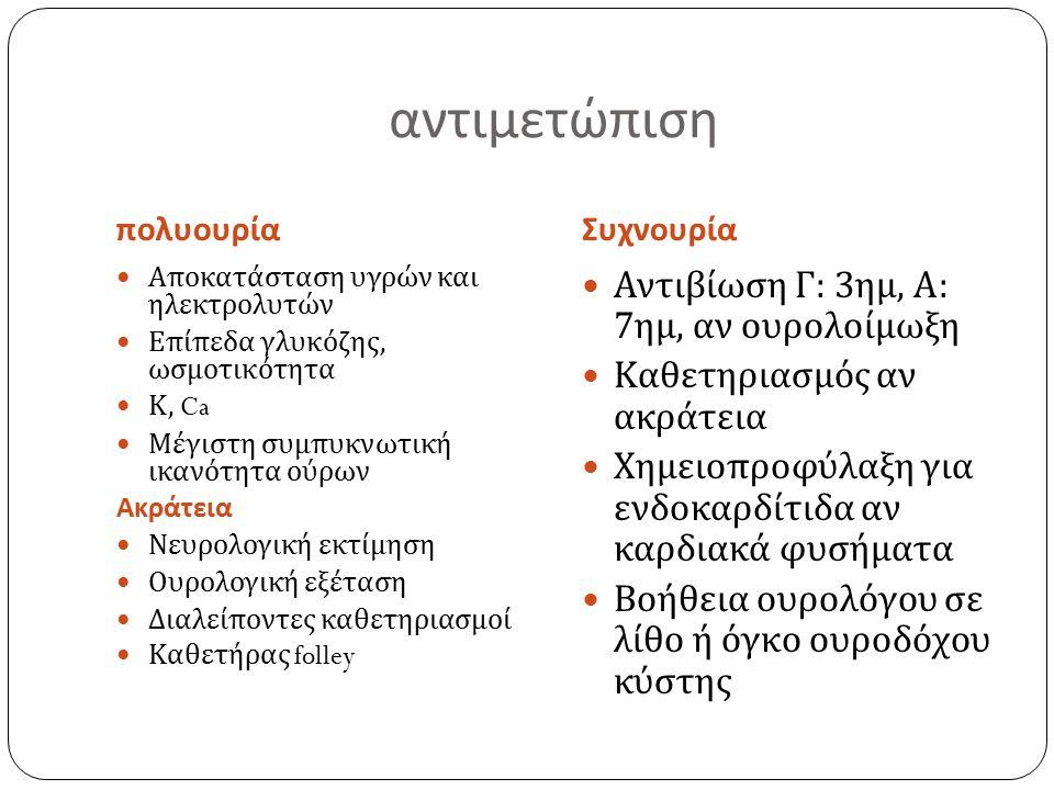 αντιμετώπιση πολυουρίαΣυχνουρία Αποκατάσταση υγρών και ηλεκτρολυτών Επίπεδα γλυκόζης, ωσμοτικότητα Κ, Ca Μέγιστη συμπυκνωτική ικανότητα ούρων Ακράτεια Νευρολογική εκτίμηση Ουρολογική εξέταση Διαλείποντες καθετηριασμοί Καθετήρας folley Αντιβίωση Γ : 3 ημ, Α : 7 ημ, αν ουρολοίμωξη Καθετηριασμός αν ακράτεια Χημειοπροφύλαξη για ενδοκαρδίτιδα αν καρδιακά φυσήματα Βοήθεια ουρολόγου σε λίθο ή όγκο ουροδόχου κύστης