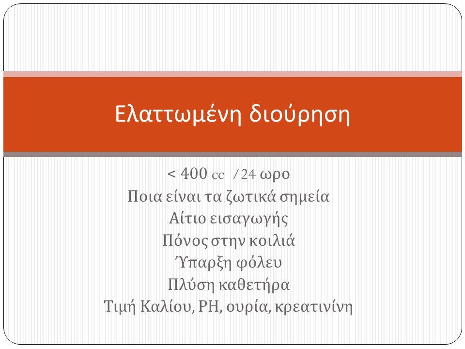 < 400 cc /24 ωρο Ποια είναι τα ζωτικά σημεία Αίτιο εισαγωγής Πόνος στην κοιλιά Ύπαρξη φόλευ Πλύση καθετήρα Τιμή Καλίου, ΡΗ, ουρία, κρεατινίνη Ελαττωμένη διούρηση