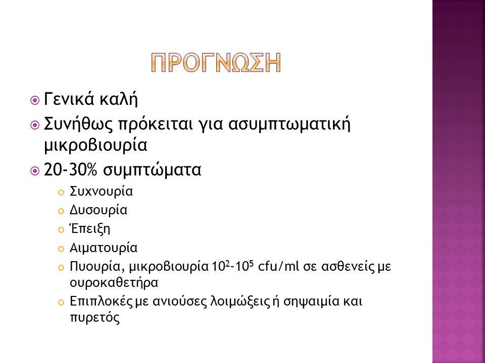  Γενικά καλή  Συνήθως πρόκειται για ασυμπτωματική μικροβιουρία  20-30% συμπτώματα Συχνουρία Δυσουρία Έπειξη Αιματουρία Πυουρία, μικροβιουρία 10 2 -10 5 cfu/ml σε ασθενείς με ουροκαθετήρα Επιπλοκές με ανιούσες λοιμώξεις ή σηψαιμία και πυρετός