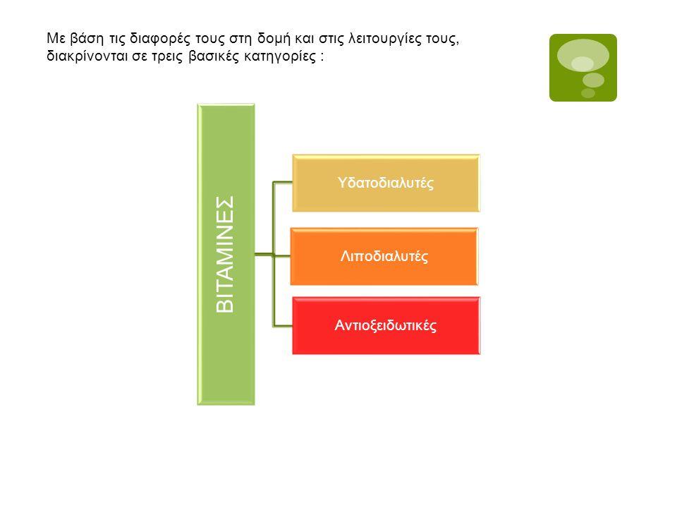Με βάση τις διαφορές τους στη δομή και στις λειτουργίες τους, διακρίνονται σε τρεις βασικές κατηγορίες : ΒΙΤΑΜΙΝΕΣ Υδατοδιαλυτές Λιποδιαλυτές Αντιοξει