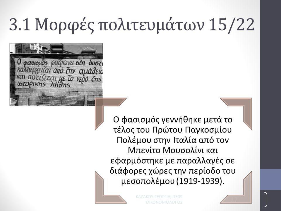 ΚΑΖΑΚΟΥ ΓΕΩΡΓΙΑ, ΠΕ09 ΟΙΚΟΝΟΜΟΛΟΓΟΣ 17 3.1 Μορφές πολιτευμάτων 15/22 Ο φασισμός γεννήθηκε μετά το τέλος του Πρώτου Παγκοσμίου Πολέμου στην Ιταλία από τον Μπενίτο Μουσολίνι και εφαρμόστηκε με παραλλαγές σε διάφορες χώρες την περίοδο του μεσοπολέμου (1919-1939).