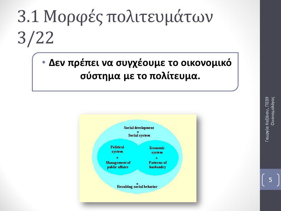 Δεν πρέπει να συγχέουμε το οικονομικό σύστημα με το πολίτευμα. Γεωργία Καζάκου, ΠΕ09 Οικονομολόγος 5 3.1 Μορφές πολιτευμάτων 3/22