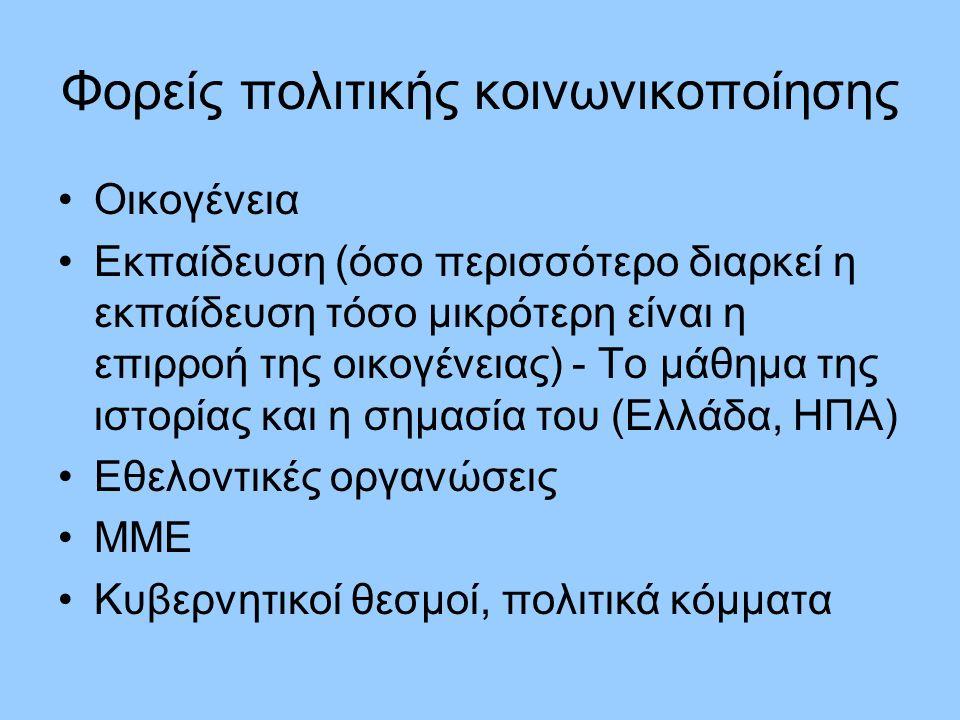 Φορείς πολιτικής κοινωνικοποίησης Οικογένεια Εκπαίδευση (όσο περισσότερο διαρκεί η εκπαίδευση τόσο μικρότερη είναι η επιρροή της οικογένειας) - Το μάθημα της ιστορίας και η σημασία του (Ελλάδα, ΗΠΑ) Εθελοντικές οργανώσεις ΜΜΕ Κυβερνητικοί θεσμοί, πολιτικά κόμματα