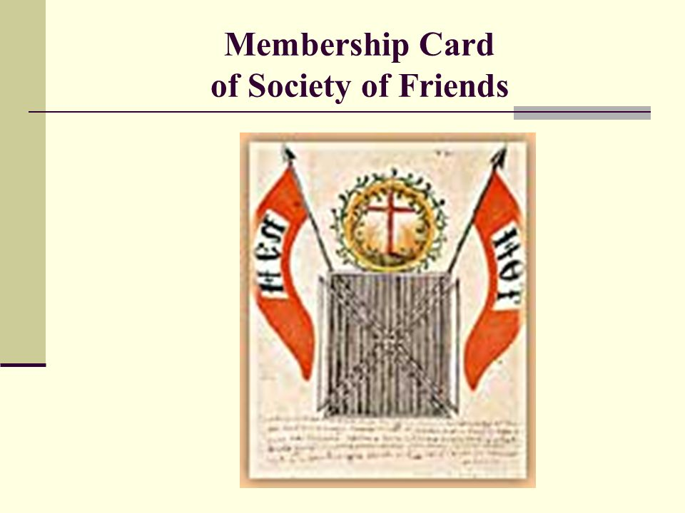 Membership Card of Society of Friends