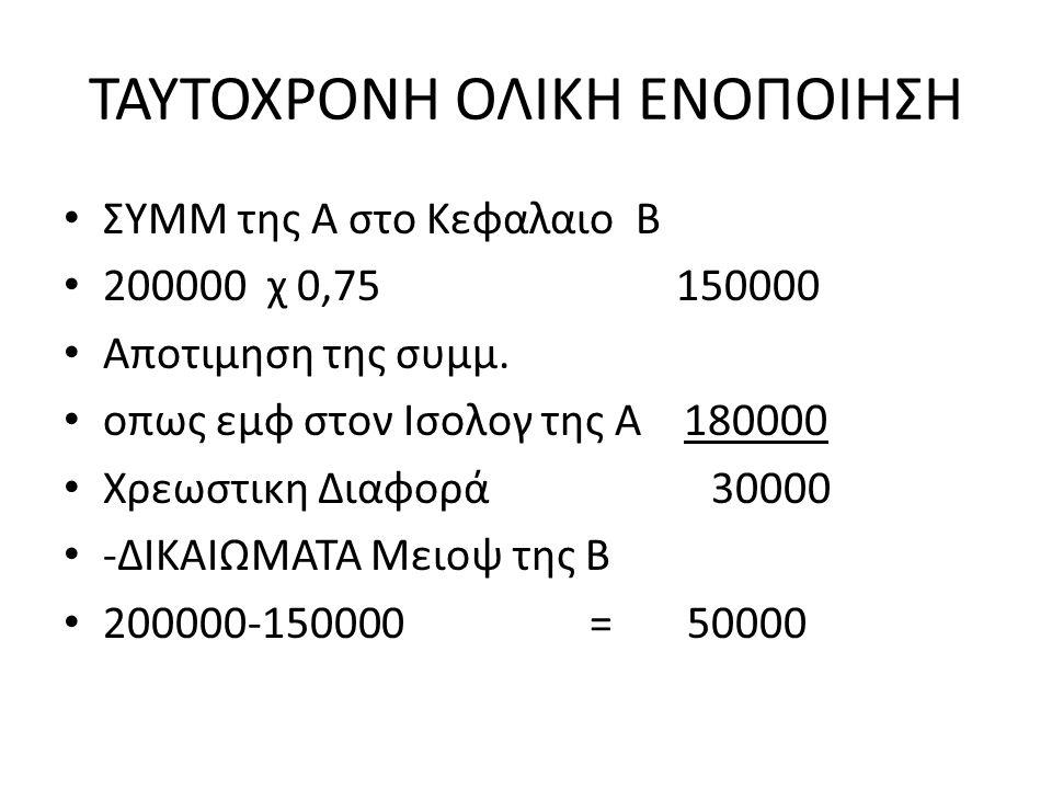 ΤΑΥΤΟΧΡΟΝΗ ΟΛΙΚΗ ΕΝΟΠΟΙΗΣΗ ΣΥΜΜ της Α στο Κεφαλαιο Β 200000 χ 0,75 150000 Αποτιμηση της συμμ.