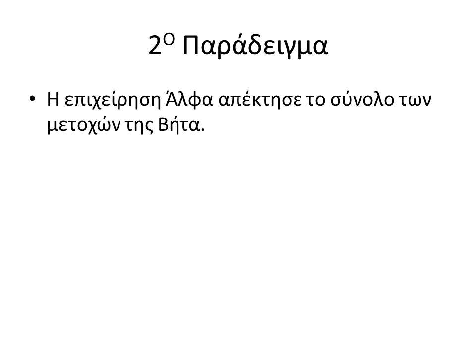 2 Ο Παράδειγμα Η επιχείρηση Άλφα απέκτησε το σύνολο των μετοχών της Βήτα.