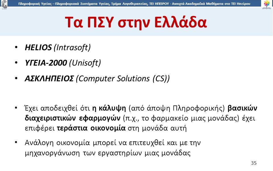 3535 Πληροφορική Υγείας – Πληροφοριακά Συστήματα Υγείας, Τμήμα Λογοθεραπείας, ΤΕΙ ΗΠΕΙΡΟΥ - Ανοιχτά Ακαδημαϊκά Μαθήματα στο ΤΕΙ Ηπείρου Τα ΠΣΥ στην Ελλάδα 35 HELIOS (Intrasoft) ΥΓΕΙΑ-2000 (Unisoft) ΑΣΚΛΗΠΕΙΟΣ (Computer Solutions (CS)) Έχει αποδειχθεί ότι η κάλυψη (από άποψη Πληροφορικής) βασικών διαχειριστικών εφαρμογών (π.χ., το φαρμακείο μιας μονάδας) έχει επιφέρει τεράστια οικονομία στη μονάδα αυτή Ανάλογη οικονομία μπορεί να επιτευχθεί και με την μηχανοργάνωση των εργαστηρίων μιας μονάδας