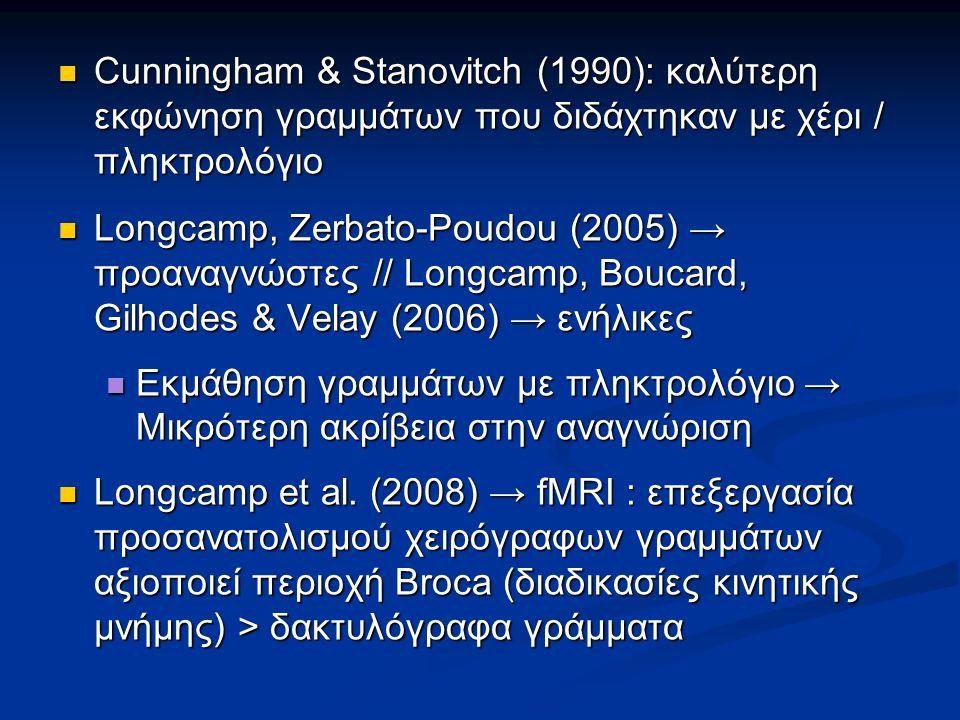 Cunningham & Stanovitch (1990): καλύτερη εκφώνηση γραμμάτων που διδάχτηκαν με χέρι / πληκτρολόγιο Cunningham & Stanovitch (1990): καλύτερη εκφώνηση γρ