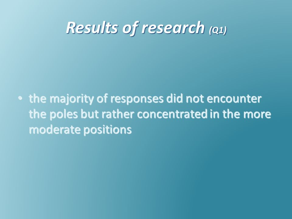 Results of research (Q1) the majority of responses did not encounter the poles but rather concentrated in the more moderate positions the majority of responses did not encounter the poles but rather concentrated in the more moderate positions