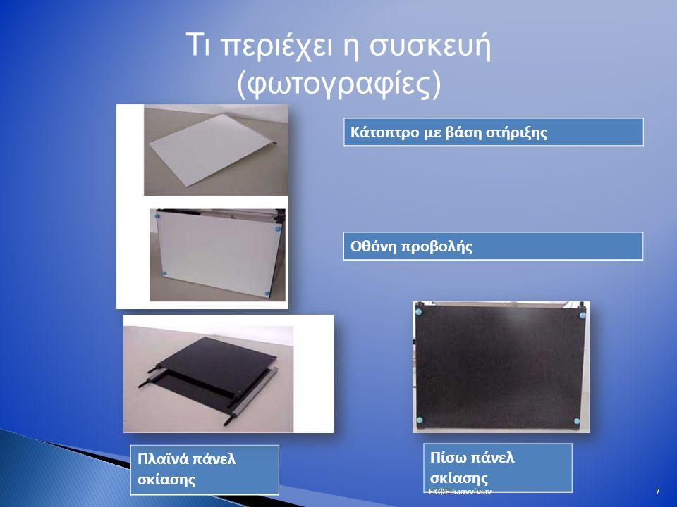 Τι περιέχει η συσκευή (φωτογραφίες) Μονός διεγέρτης για την παραγωγή κυκλικών παλμών και κυκλικών περιοδικών κυμάτων Διπλός διεγέρτη για την επίδειξη των κροσσών συμβολής Ευθύγραμμος διεγέρτης για την παραγωγή ευθύγραμμων παλμών και ευθύγραμμων περιοδικών κυμάτων και την επίδειξη της ανάκλασης και της διάθλασης.