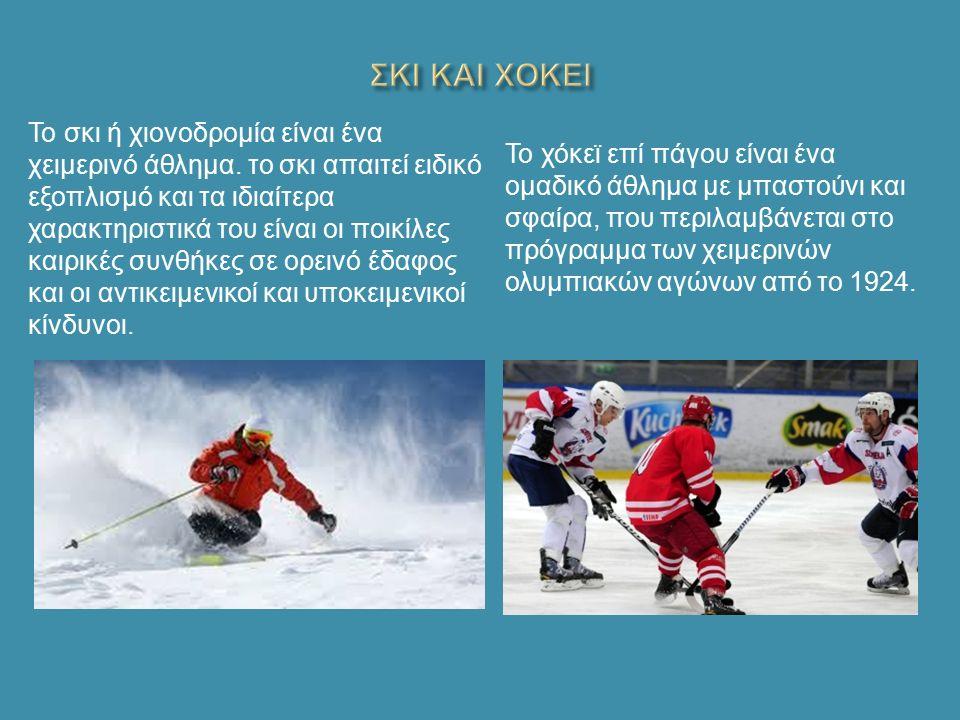 Το σκι ή χιονοδρομία είναι ένα χειμερινό άθλημα.