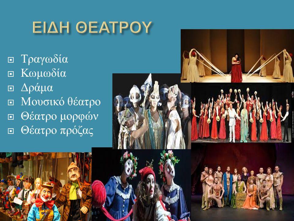  Τραγωδία  Κωμωδία  Δράμα  Μουσικό θέατρο  Θέατρο μορφών  Θέατρο πρόζας