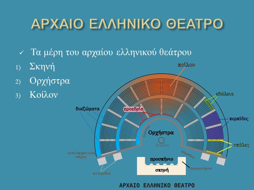 Τα μέρη του αρχαίου ελληνικού θεάτρου 1) Σκηνή 2) Ορχήστρα 3) Κοίλον