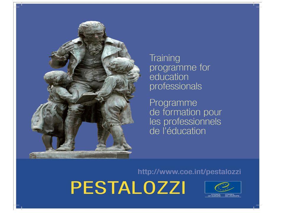 PESTALOZZI Εργαστήρια μικρής διάρκειας του Συμβουλίου της Ευρώπης Τα εργαστήρια Pestalozzi είναι το Πρόγραμμα φάρος του Συμβουλίου της Ευρώπης σε θέματα επαγγελματικής τελειοποίησης των εκπαιδευτικών και του εκπαιδευτικού προσωπικού.
