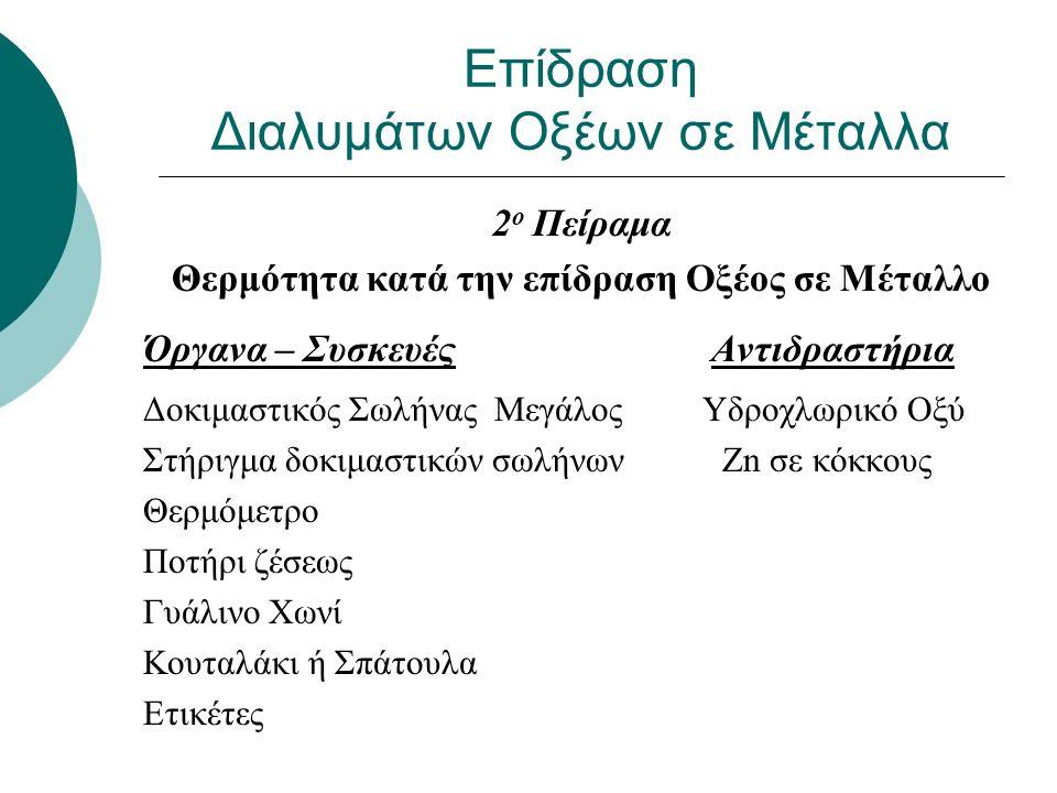 Επίδραση Διαλυμάτων Οξέων σε Μέταλλα 3 ο Πείραμα Συλλογή και Ανίχνευση Υδρογόνου σε δοκ.