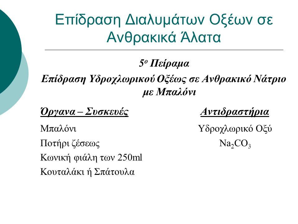 Επίδραση Διαλυμάτων Οξέων σε Ανθρακικά Άλατα 5 ο Πείραμα Επίδραση Υδροχλωρικού Οξέως σε Ανθρακικό Νάτριο με Μπαλόνι Όργανα – Συσκευές Αντιδραστήρια Μπαλόνι Υδροχλωρικό Οξύ Ποτήρι ζέσεως Na 2 CO 3 Κωνική φιάλη των 250ml Κουταλάκι ή Σπάτουλα