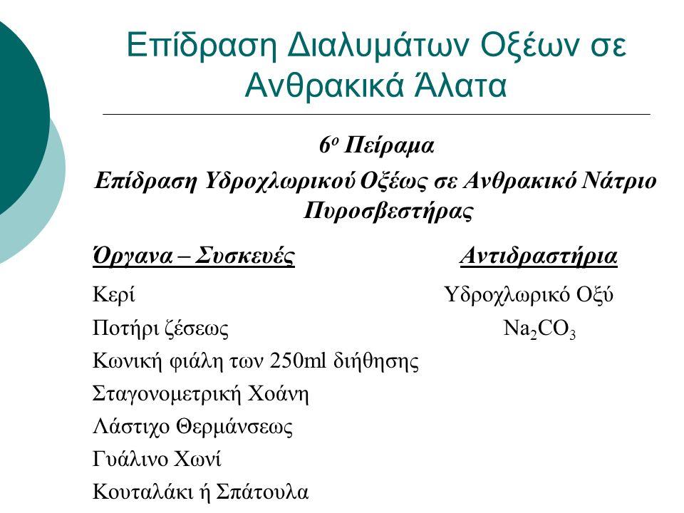 Επίδραση Διαλυμάτων Οξέων σε Ανθρακικά Άλατα 6 ο Πείραμα Επίδραση Υδροχλωρικού Οξέως σε Ανθρακικό Νάτριο Πυροσβεστήρας Όργανα – Συσκευές Αντιδραστήρια Κερί Υδροχλωρικό Οξύ Ποτήρι ζέσεως Na 2 CO 3 Κωνική φιάλη των 250ml διήθησης Σταγονομετρική Χοάνη Λάστιχο Θερμάνσεως Γυάλινο Χωνί Κουταλάκι ή Σπάτουλα