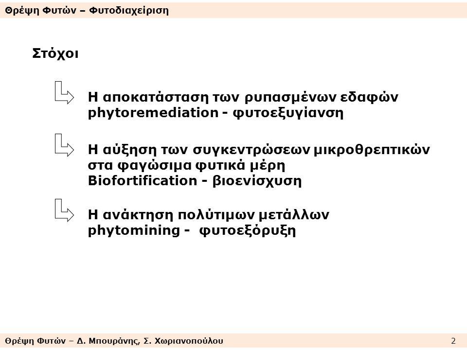 Θρέψη Φυτών – Δ. Μπουράνης, Σ. Χωριανοπούλου 2 Θρέψη Φυτών – Φυτοδιαχείριση Στόχοι Η αποκατάσταση των ρυπασμένων εδαφών phytoremediation - φυτοεξυγίαν