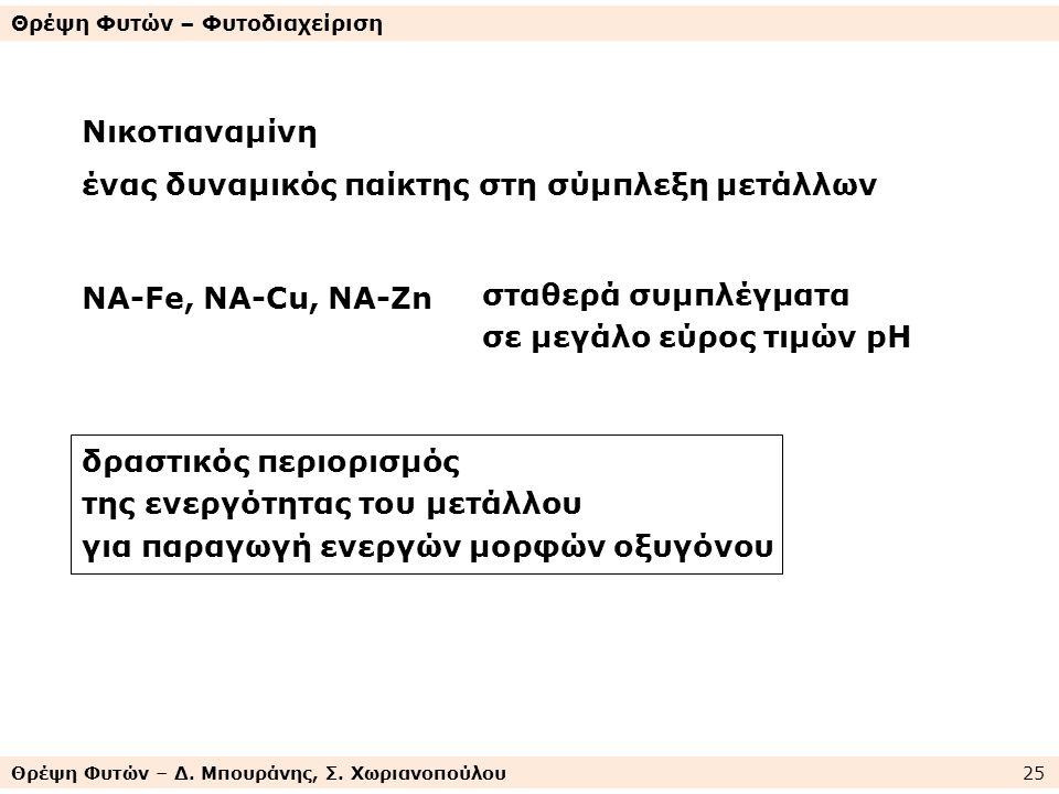 Θρέψη Φυτών – Δ. Μπουράνης, Σ. Χωριανοπούλου 25 Θρέψη Φυτών – Φυτοδιαχείριση Νικοτιαναμίνη ένας δυναμικός παίκτης στη σύμπλεξη μετάλλων NA-Fe, NA-Cu,