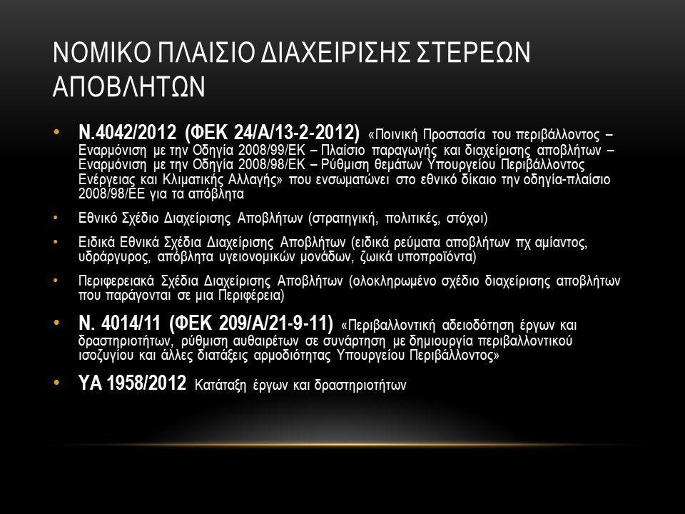 ΝΟΜΙΚΟ ΠΛΑΙΣΙΟ ΔΙΑΧΕΙΡΙΣΗΣ ΣΤΕΡΕΩΝ ΑΠΟΒΛΗΤΩΝ Ν.4042/2012 (ΦΕΚ 24/Α/13-2-2012) «Ποινική Προστασία του περιβάλλοντος – Εναρμόνιση με την Οδηγία 2008/99/ΕΚ – Πλαίσιο παραγωγής και διαχείρισης αποβλήτων – Εναρμόνιση με την Οδηγία 2008/98/ΕΚ – Ρύθμιση θεμάτων Υπουργείου Περιβάλλοντος Ενέργειας και Κλιματικής Αλλαγής» που ενσωματώνει στο εθνικό δίκαιο την οδηγία-πλαίσιο 2008/98/ΕΕ για τα απόβλητα Εθνικό Σχέδιο Διαχείρισης Αποβλήτων (στρατηγική, πολιτικές, στόχοι) Ειδικά Εθνικά Σχέδια Διαχείρισης Αποβλήτων (ειδικά ρεύματα αποβλήτων πχ αμίαντος, υδράργυρος, απόβλητα υγειονομικών μονάδων, ζωικά υποπροϊόντα) Περιφερειακά Σχέδια Διαχείρισης Αποβλήτων (ολοκληρωμένο σχέδιο διαχείρισης αποβλήτων που παράγονται σε μια Περιφέρεια) Ν.