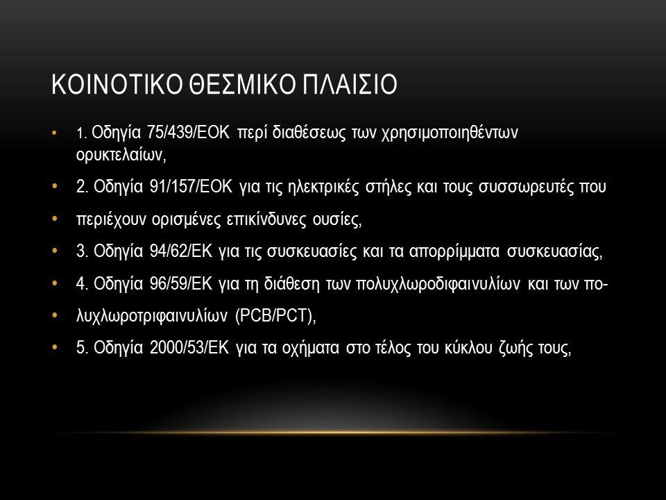 ΚΟΙΝΟΤΙΚΟ ΘΕΣΜΙΚΟ ΠΛΑΙΣΙΟ 1.Οδηγία 75/439/ΕΟΚ περί διαθέσεως των χρησιμοποιηθέντων ορυκτελαίων, 2.